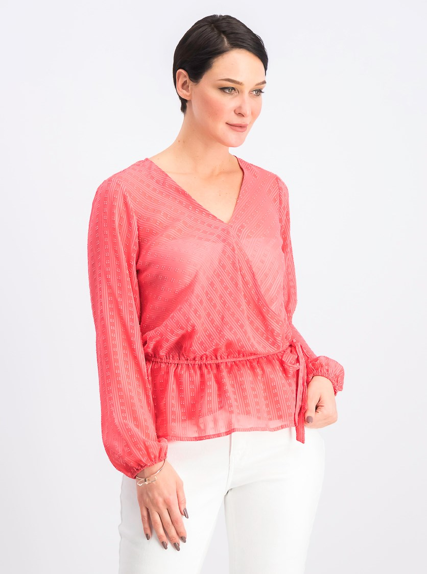 Womens Peplum Illusion Wrap Top, Polished Coral
