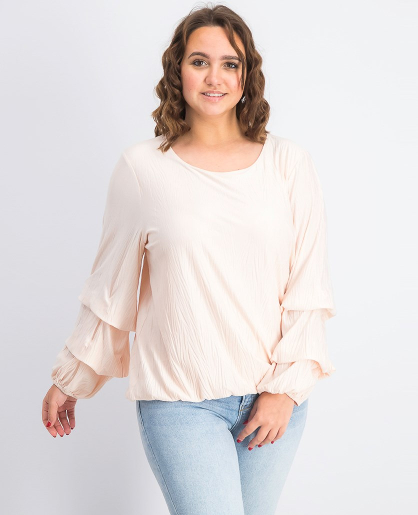 Textured Bubble-Sleeve Top, Silver Peony