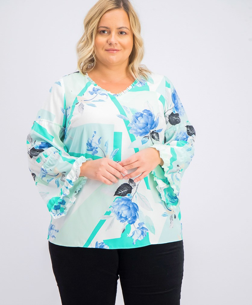 Women's Plus Size Printed Ruffle-Trim Blouse, Turquouise Arc Combo