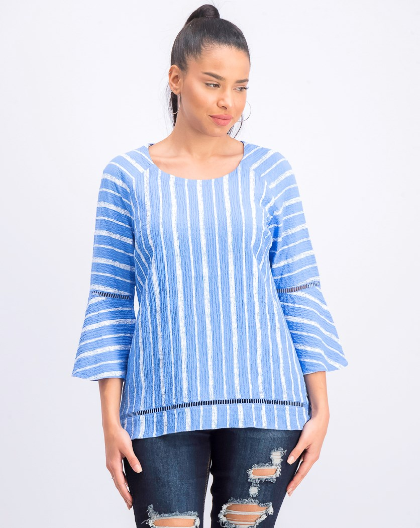 Petite Bell-Sleeve Crinkle Top, Blue