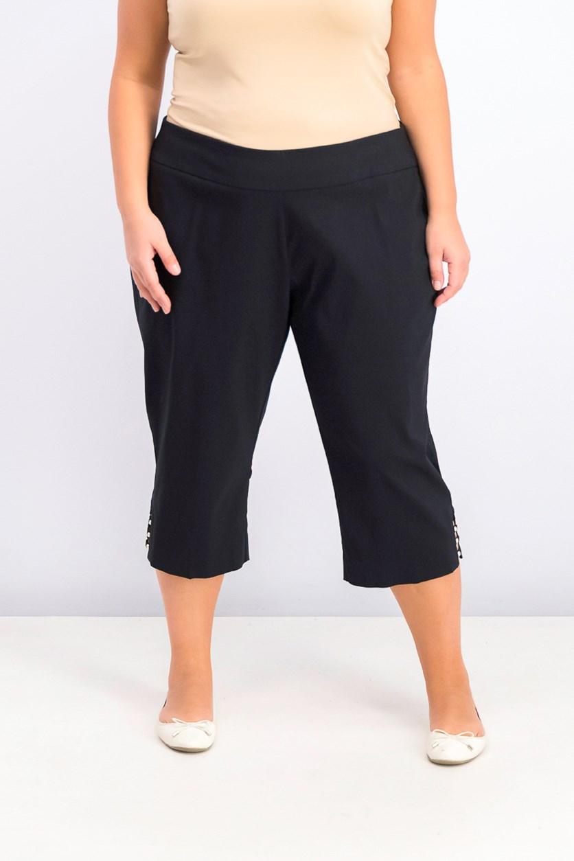 Petite Plus Size Tummy Control Capri Pants, Deep Black