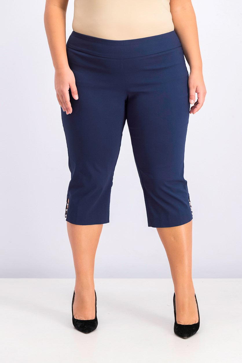 Womens Plus Size Tummy Control Capri Pants, Intrepid Blue