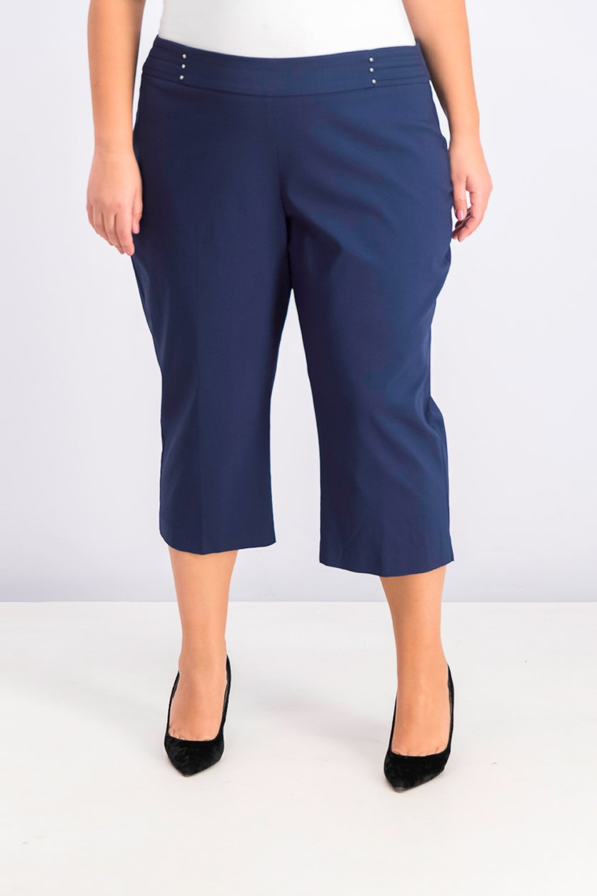 Plus Size Tummy Control Pull-on Capri Pants, Intrepid Blue