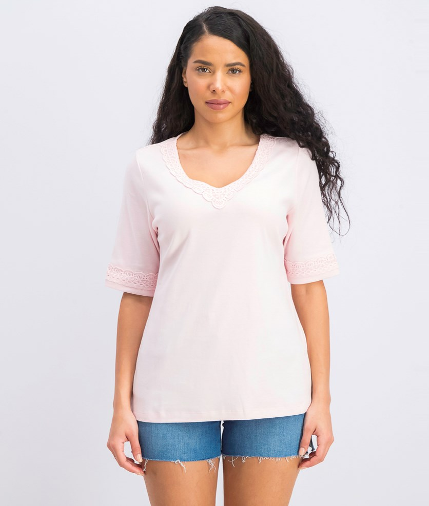 Women's Lace-Trim Cotton Top, Blush