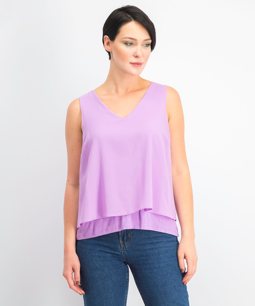 Mixed Media Split Back Tank Top, Tranquil Orchid