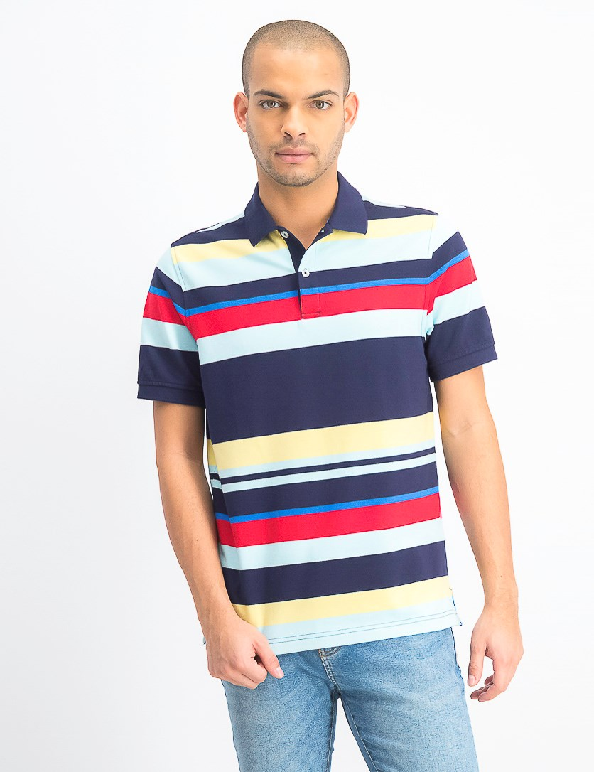 Men's Stripe Stretch Polo Shirt, Navy Blue Combo
