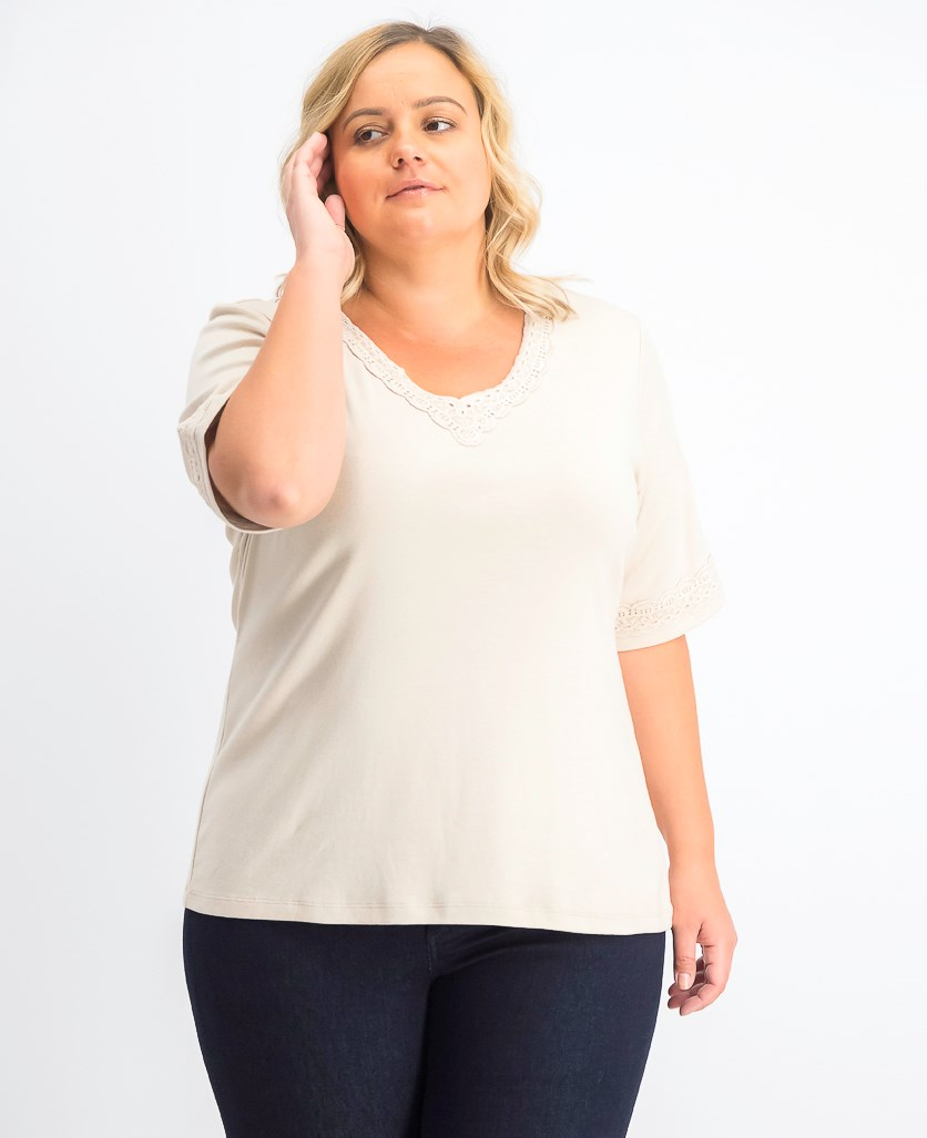 Women's Plus Size Cotton Lace-Trim T-Shirt, Pebble