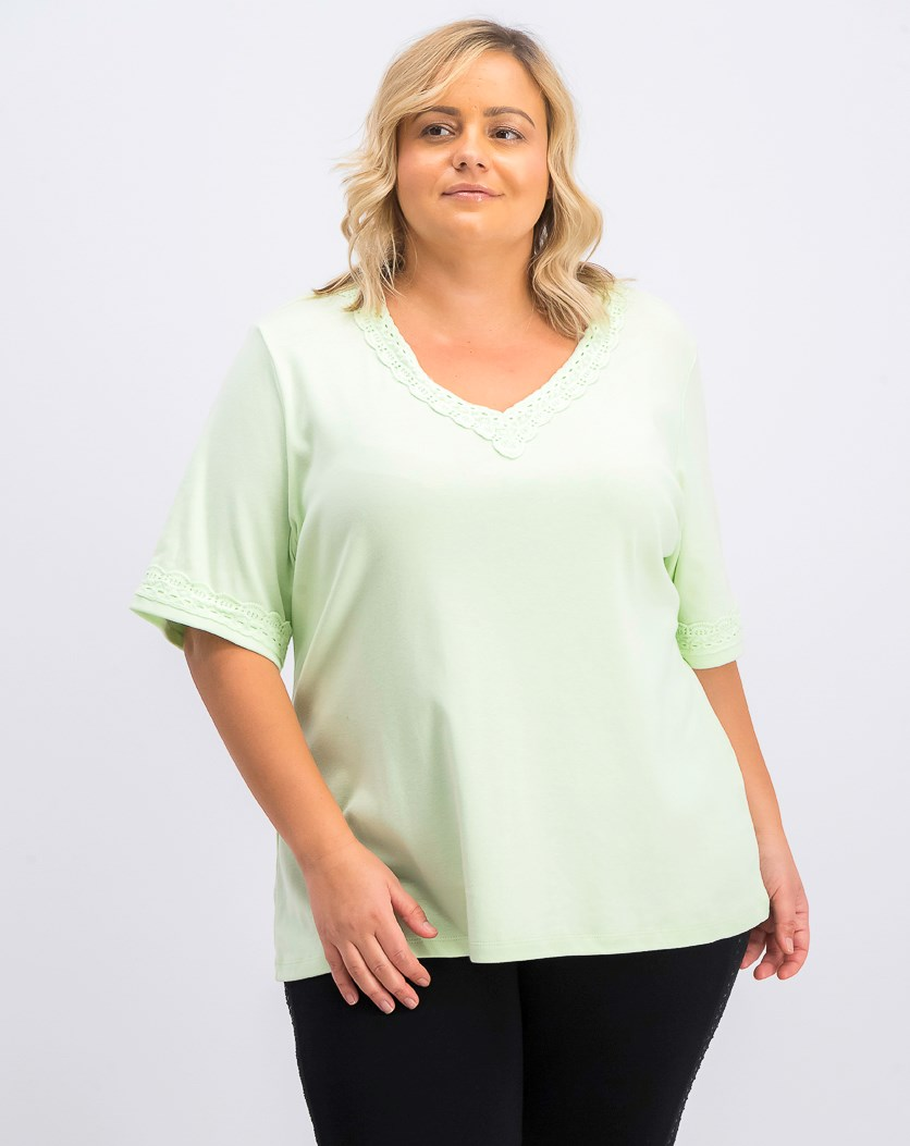 Women's Plus Size Cotton Lace-Trim T-Shirt, Calm Aloe