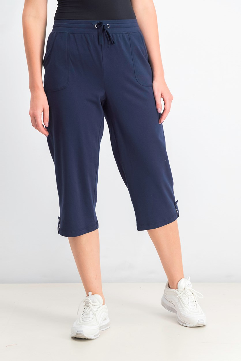 Women's French Terry Drawstring Capri Pants, Intrepid Blue