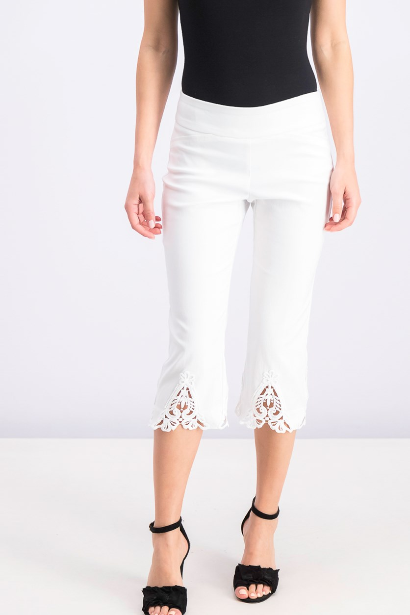 Women's Petite Crochet-Trim Capri Pants, Bright White