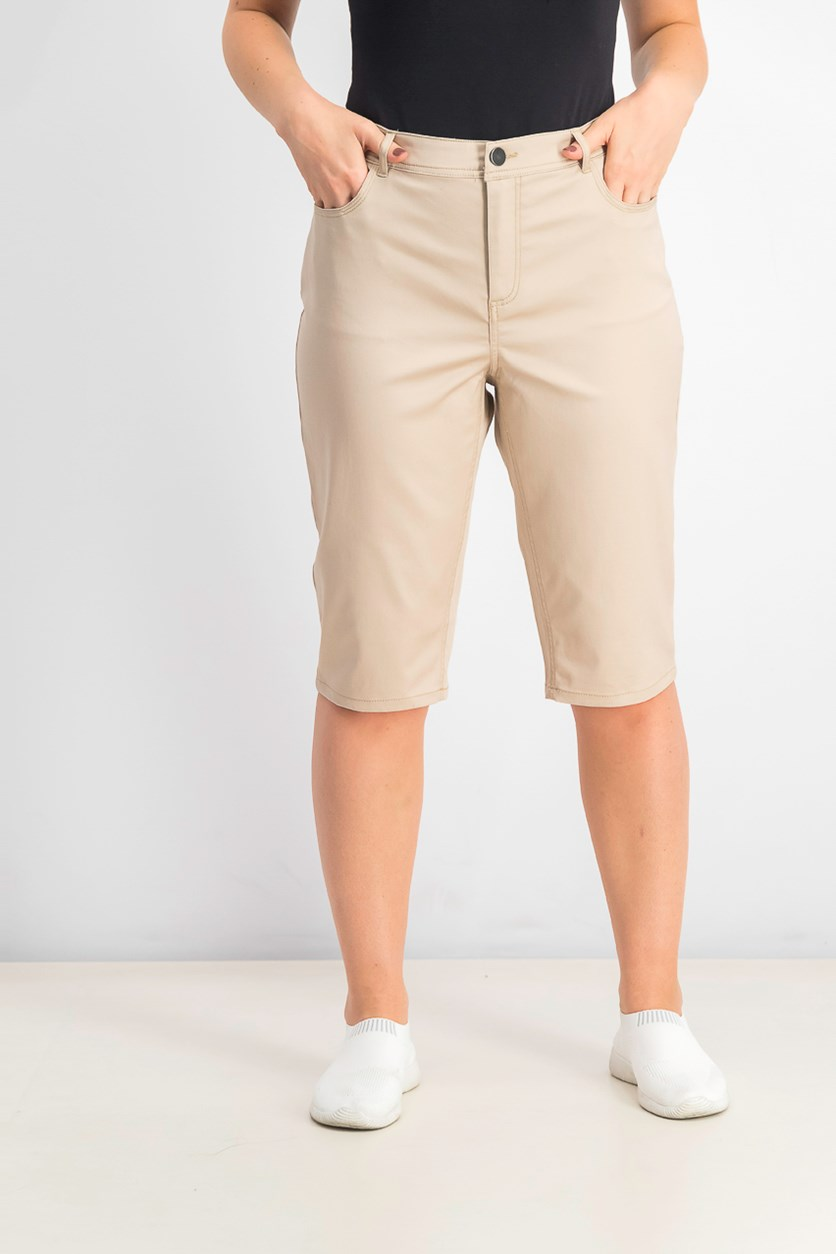 Women's Mid-Rise Knee-Length Skimmer 3/4 Pants, Sugar Sand