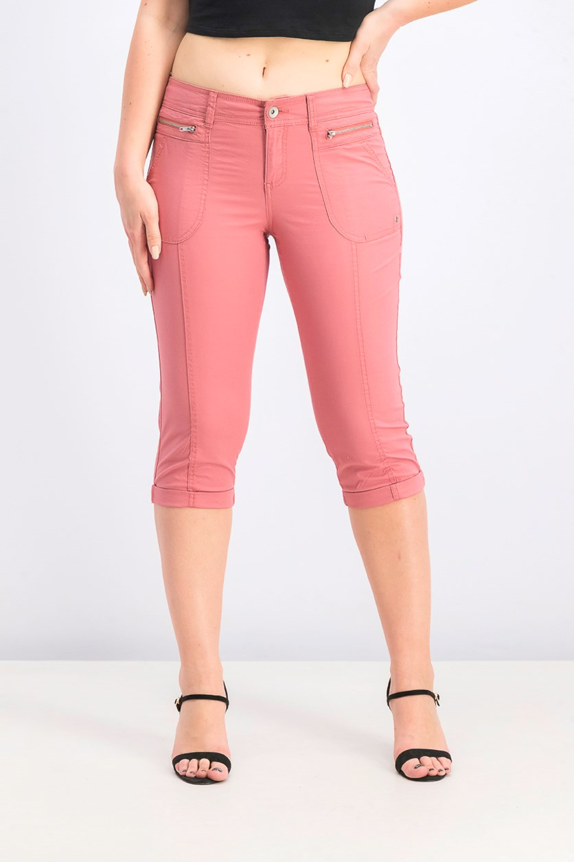 Women's Petite Cuffed Capri Pants, Red Salmon