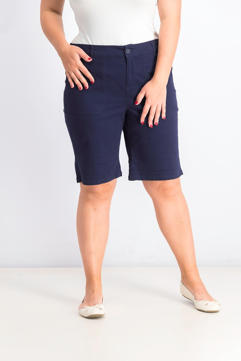 Women's Utility-Pocket Cuffed Shorts, Navy Blue