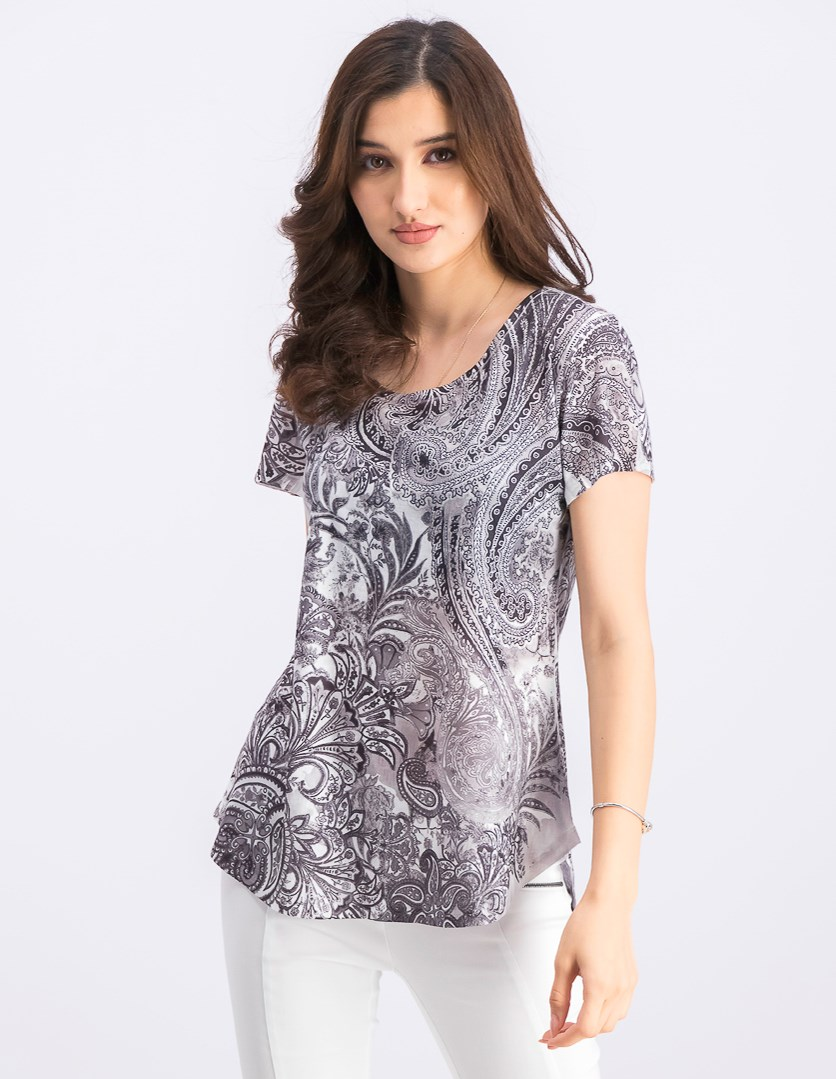 Women's Printed T-Shirt, Floral Controve