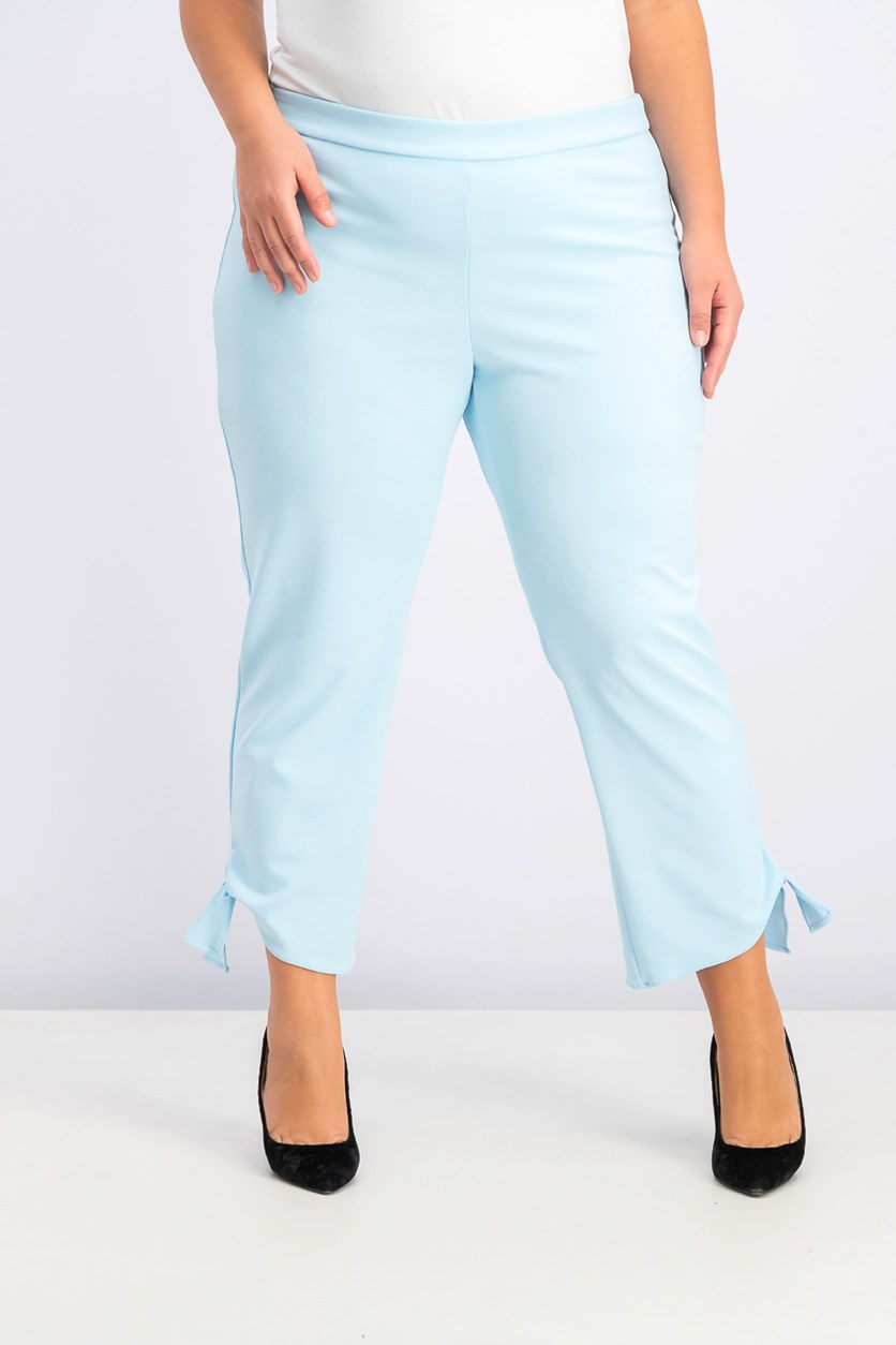 Women's Tie-Cuff Cropped Pull-On Pants, Oasis Blue