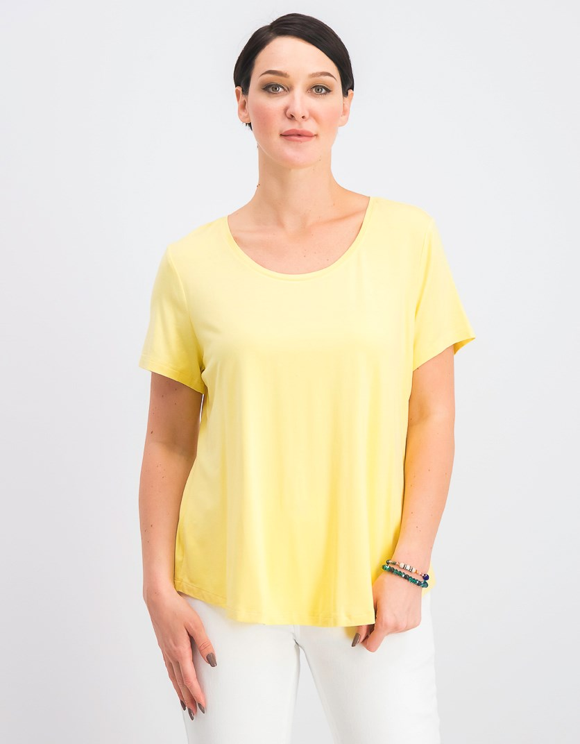Petite Shirttail-Hem Top, Lemon Frost