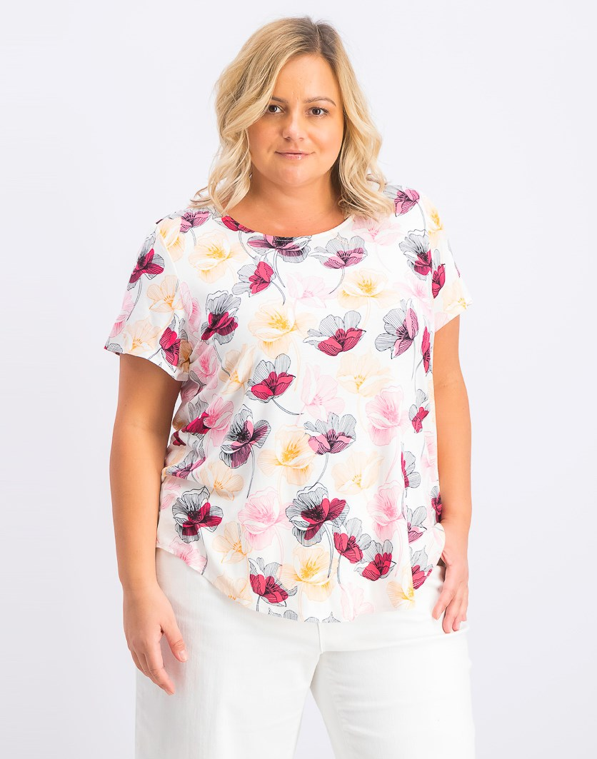 Women's Plus Size Printed T-Shirt, Pink Bloom