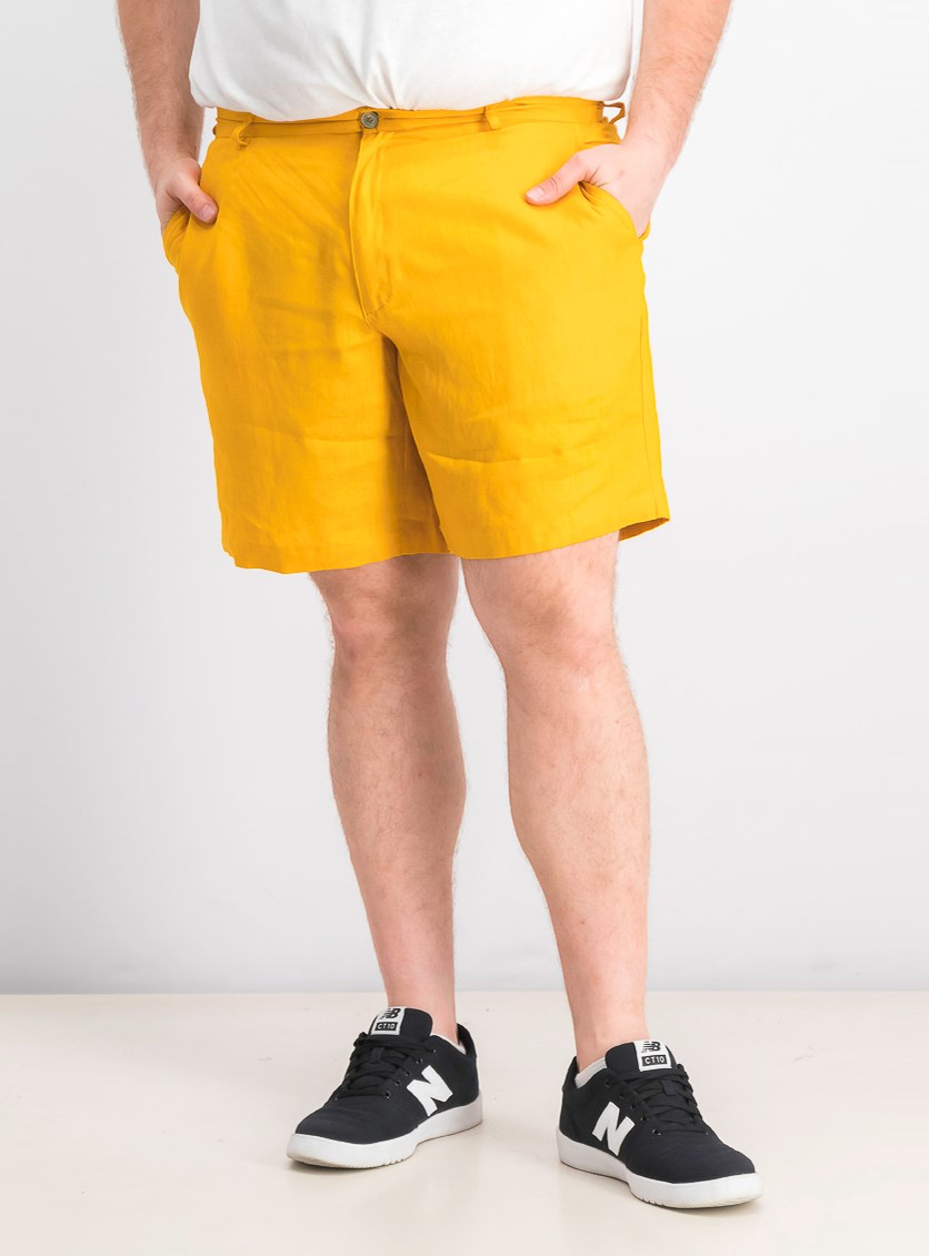 Men's Flat-Front Linen Shorts, Majestic Gold