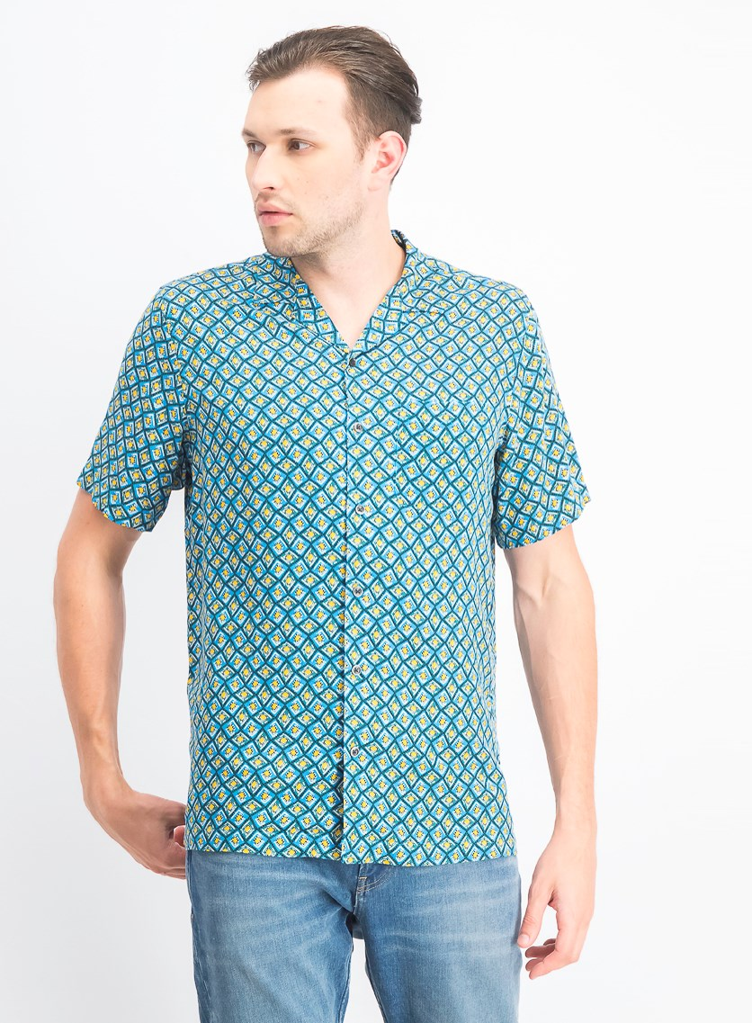 Men's Geo-Print Camp Collar Silk Shirt, Teal Combo