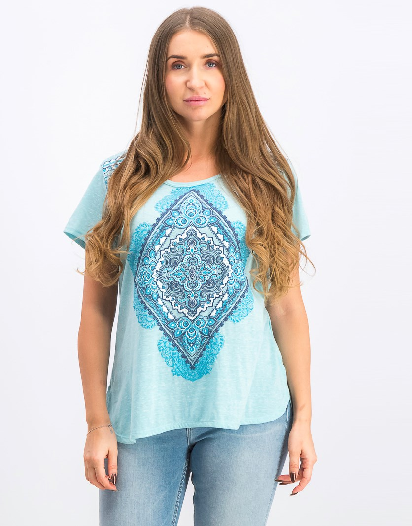 Graphic-Print High-Low T-Shirt, Folk Diamond