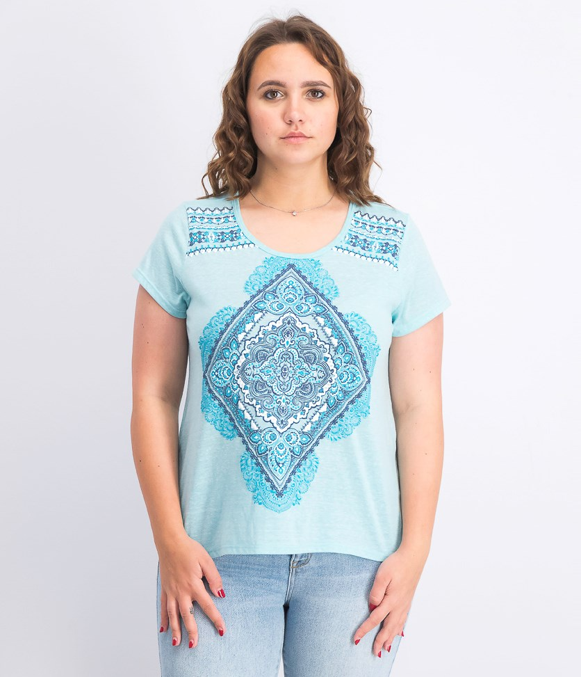 Women's Petite Graphic Top, Folk Diamond