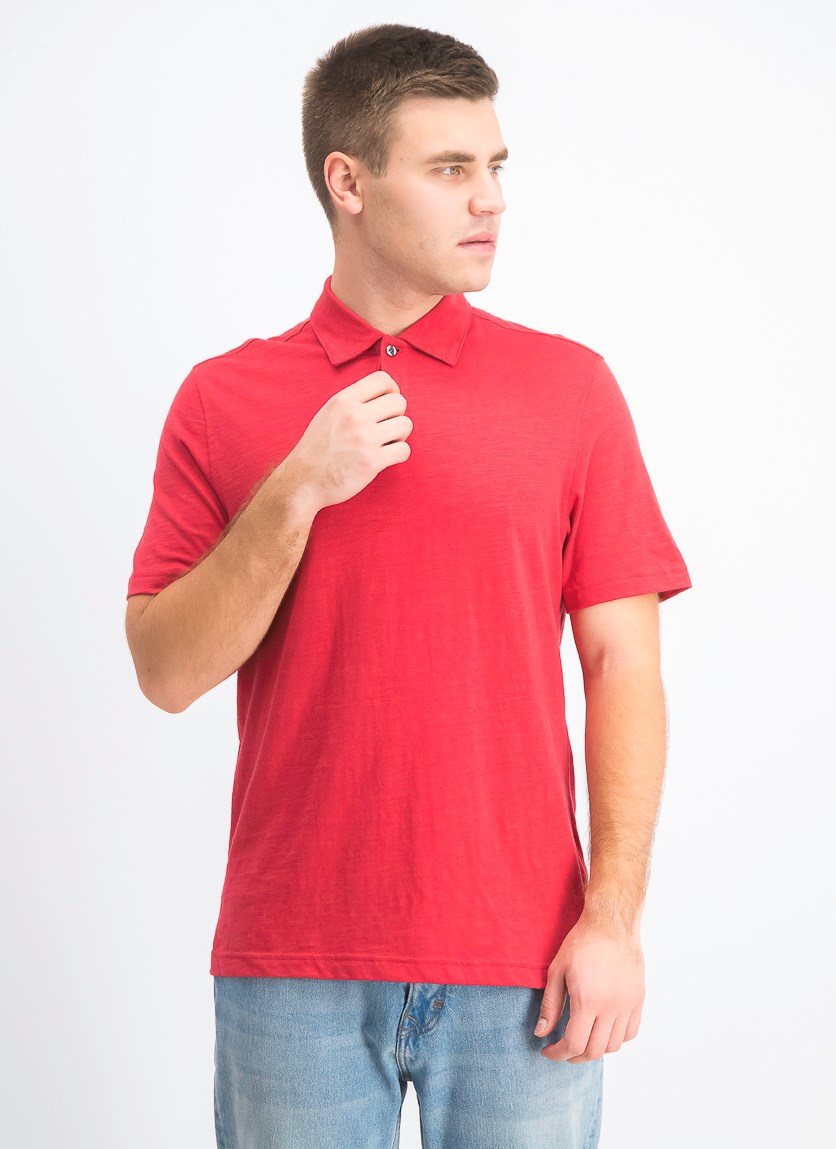 Men's Slub Polo, Sunset Red