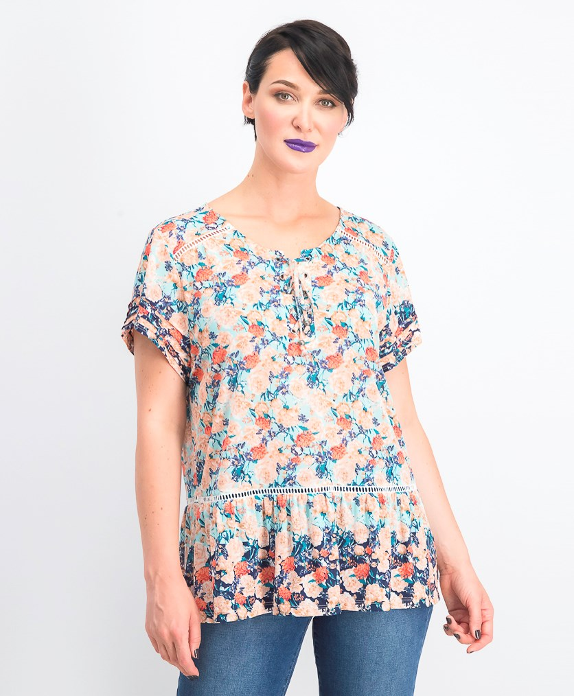 Women's  Printed Ruffled Peasant Top, Fresh Daze