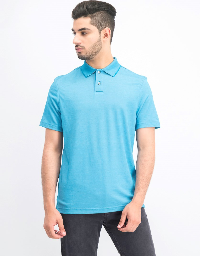 Men's Supima Blend Cotton Polo, Freshwater Teal