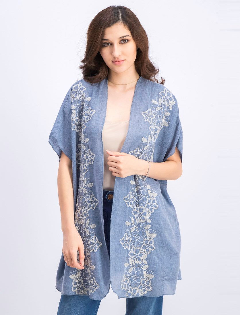 Women's Embroidered Open-Front Kimono, Floral Chain