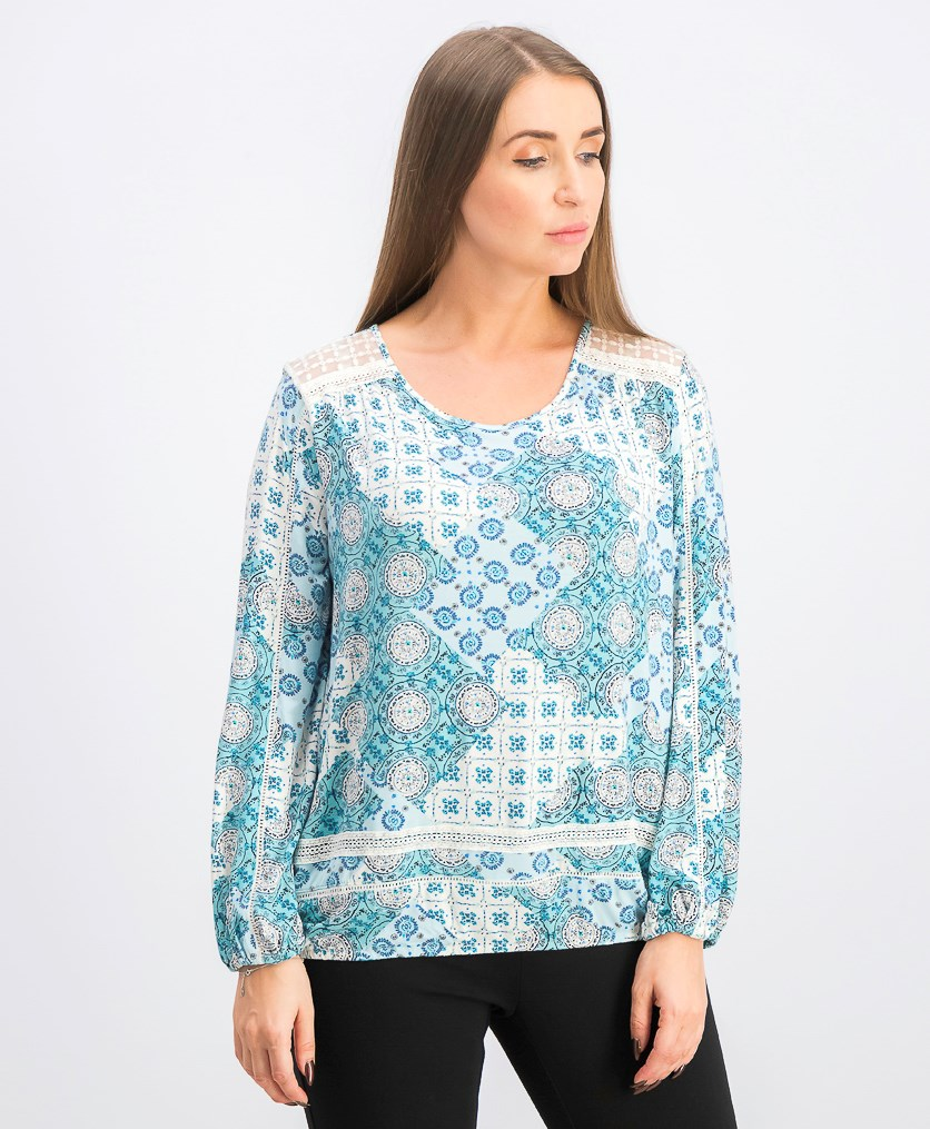 Women's Crochet-Trim Bubble-Hem Top, Medallion Teal