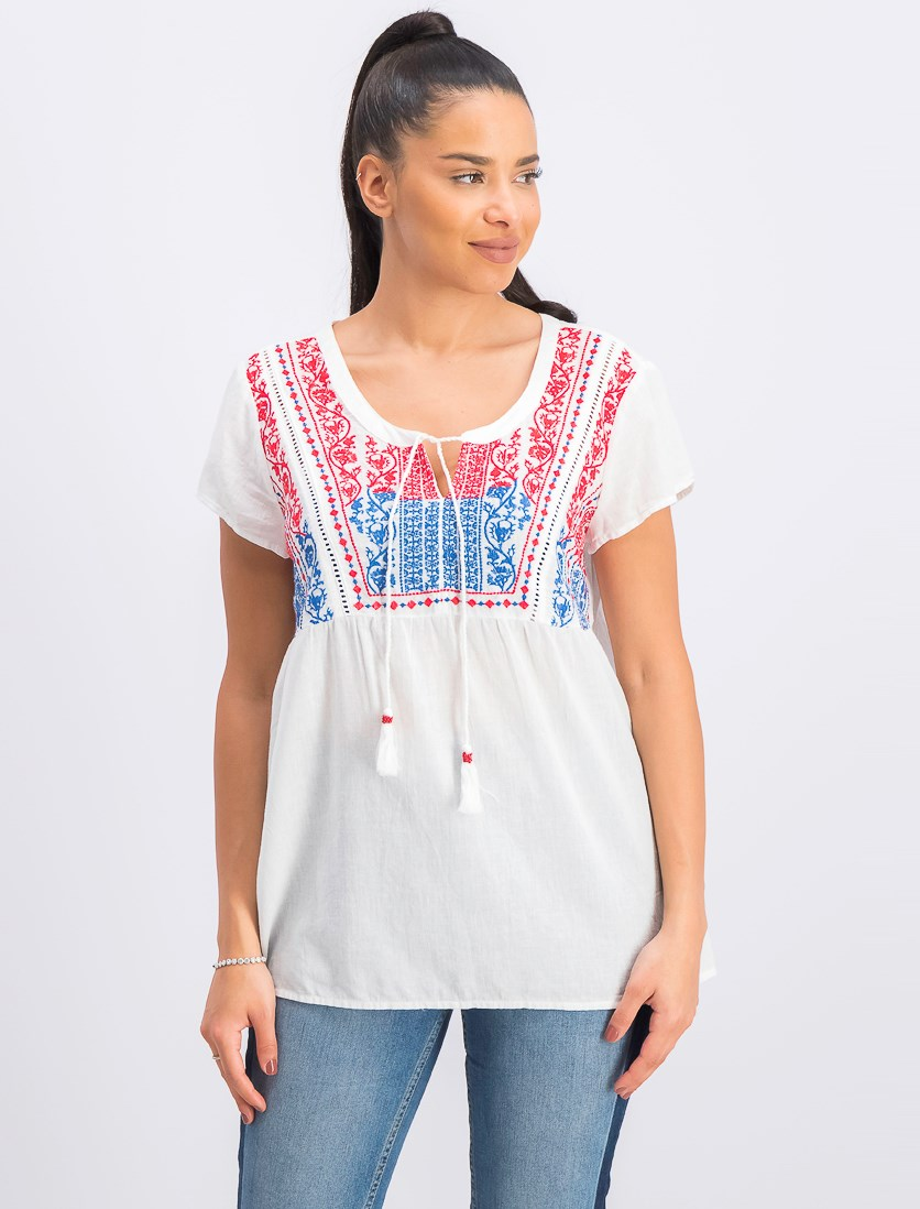 Women's Embroidered Tassel Top, Summertime Delight
