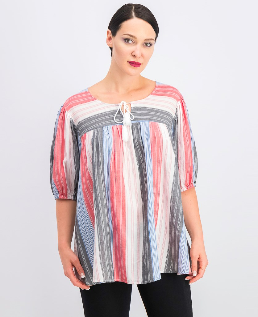 Women's Striped Cotton Pleated Peasant Top, Present Stripe