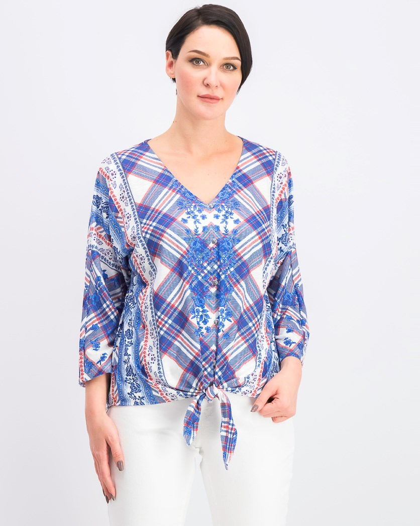 Women's Printed Tie-Front Top, Blue/White Combo
