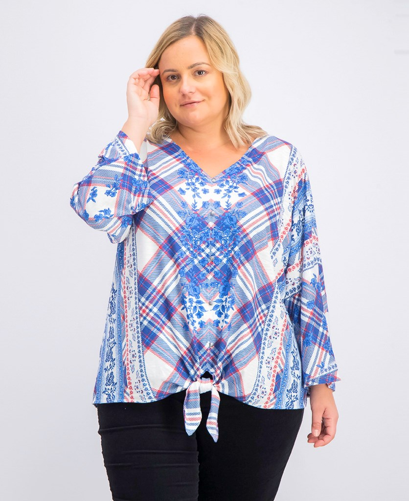 Women's Plus Size Printed Tie-Front Top, Aria Blue Combo