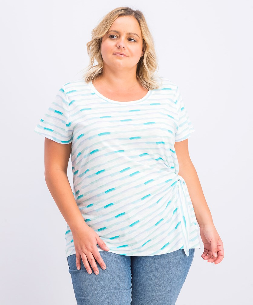 Womens Plus Size Side-Tie Top, Blush Teal