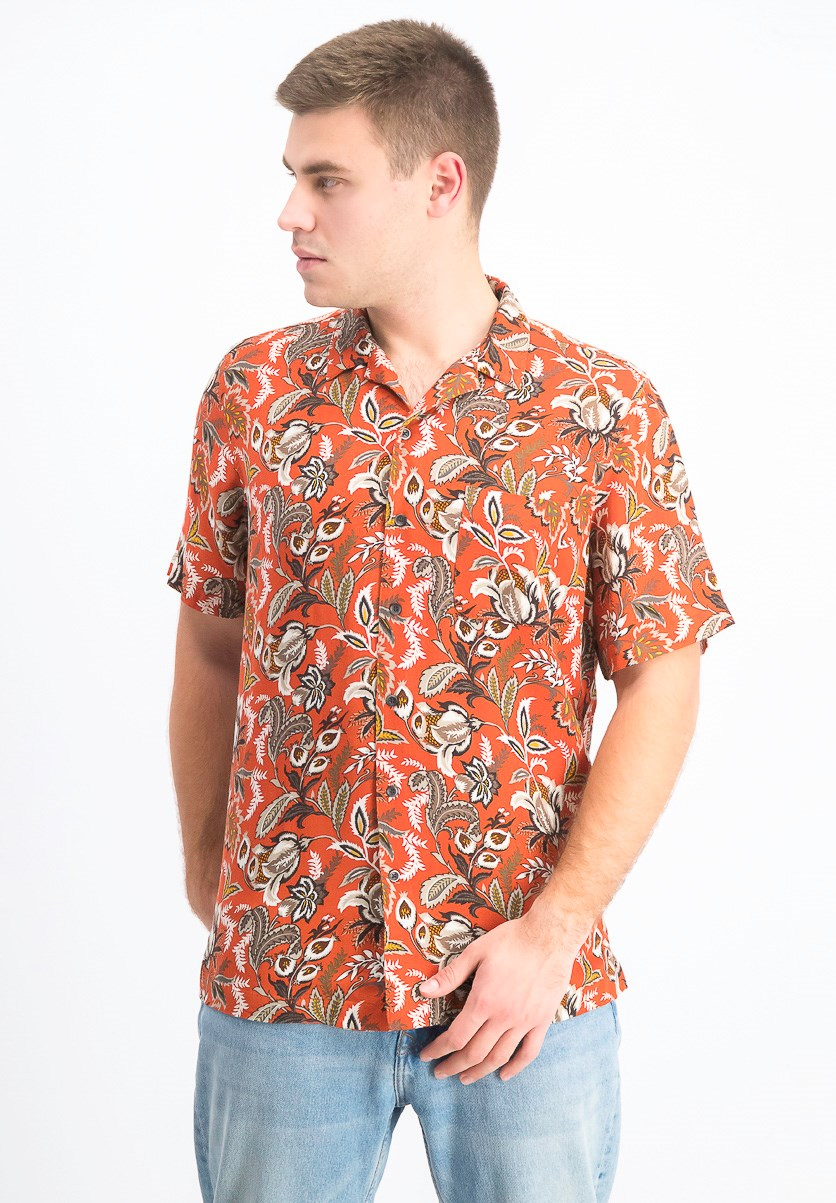 Men's Floral-Print Silk Shirt, Flame Combo