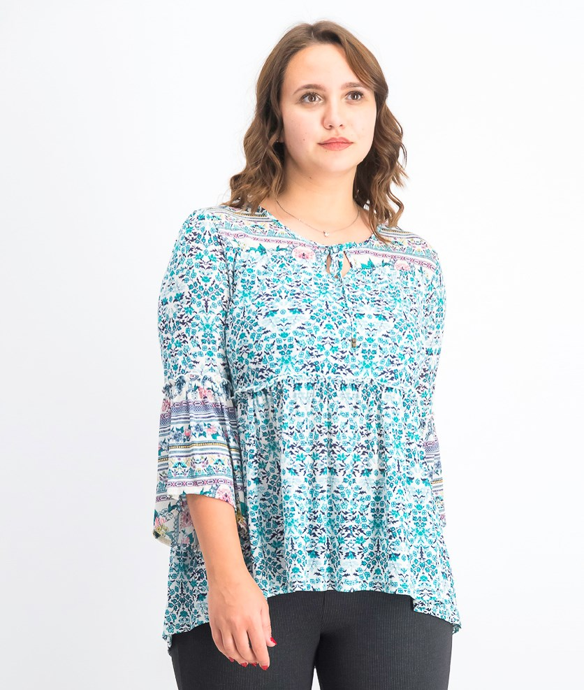 Women's Mesh Lantern-Sleeve Peasant Top, Seascape Garden Blue