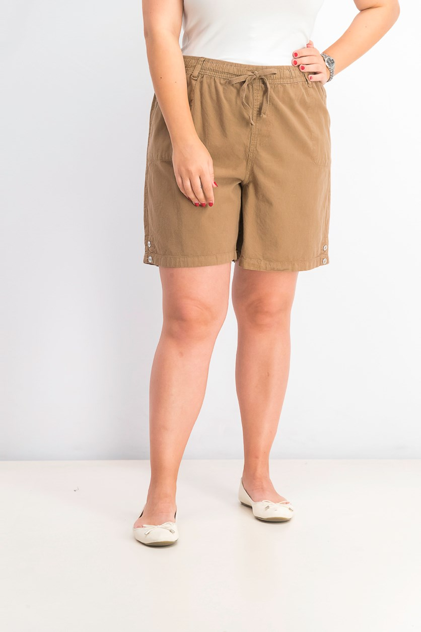 Women's Petite Cotton Pull-On Shorts, Portobello
