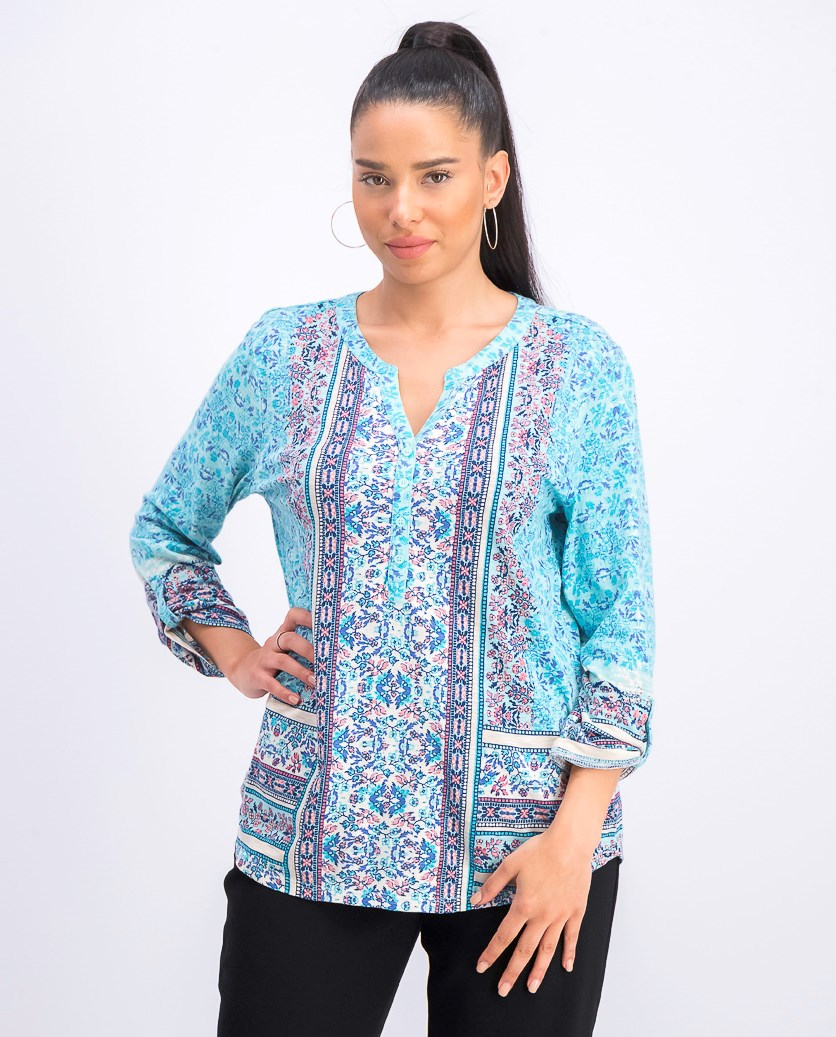 Women's Printed Button-Neck Top, Horizon Daze Teal