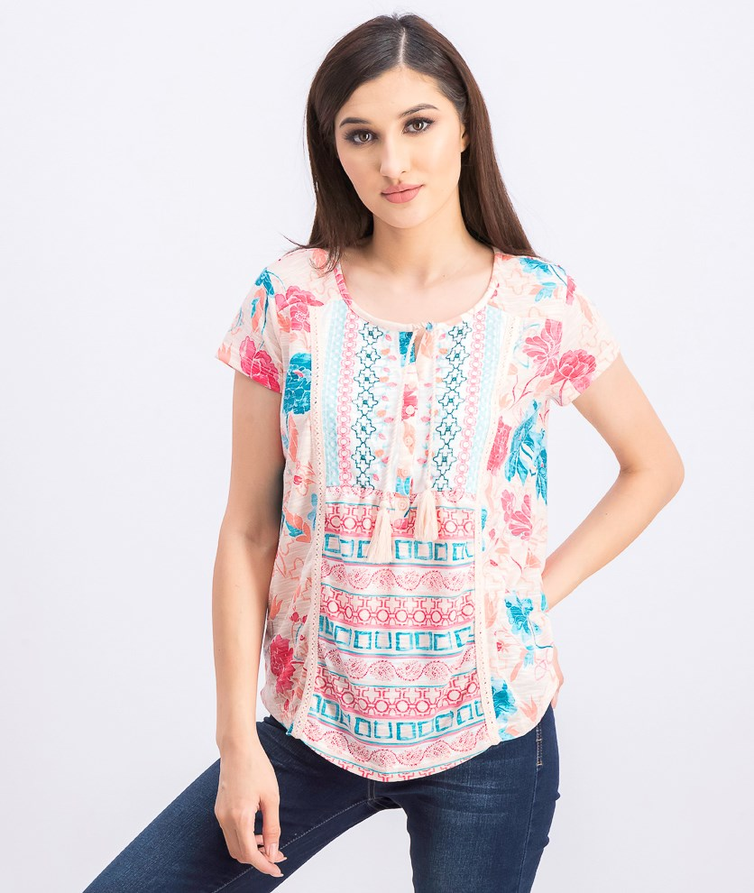 Women's Mixed-Print Top, Garden Bliss Pink