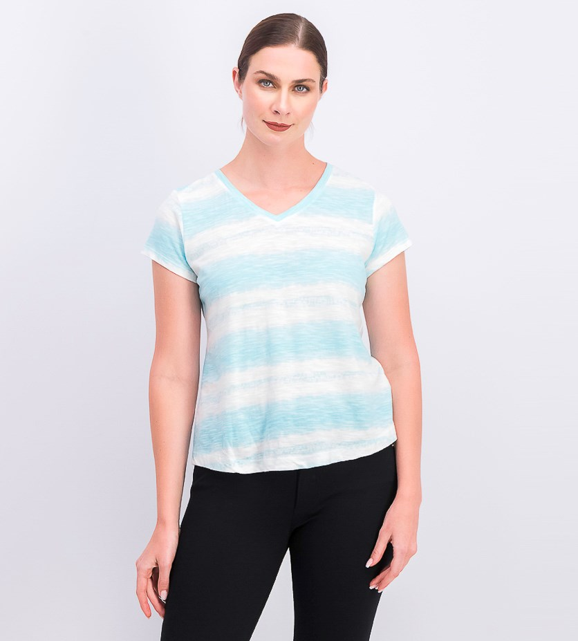 Women's Petite Cotton Printed T-Shirt, Dye Aqua