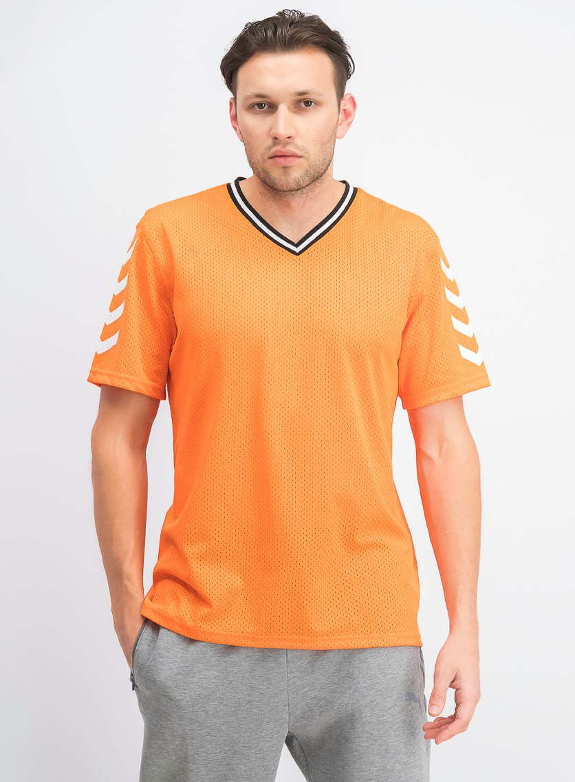 Men's Mesh V-Neck Jersey, Sunrise Glow