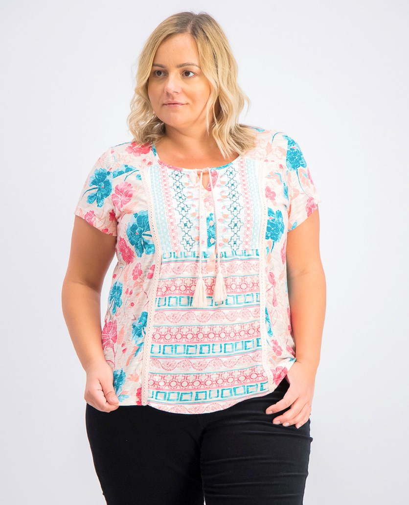 Women's Plus Size Printed Embroidered Peasant Top, Garden Bliss Pink