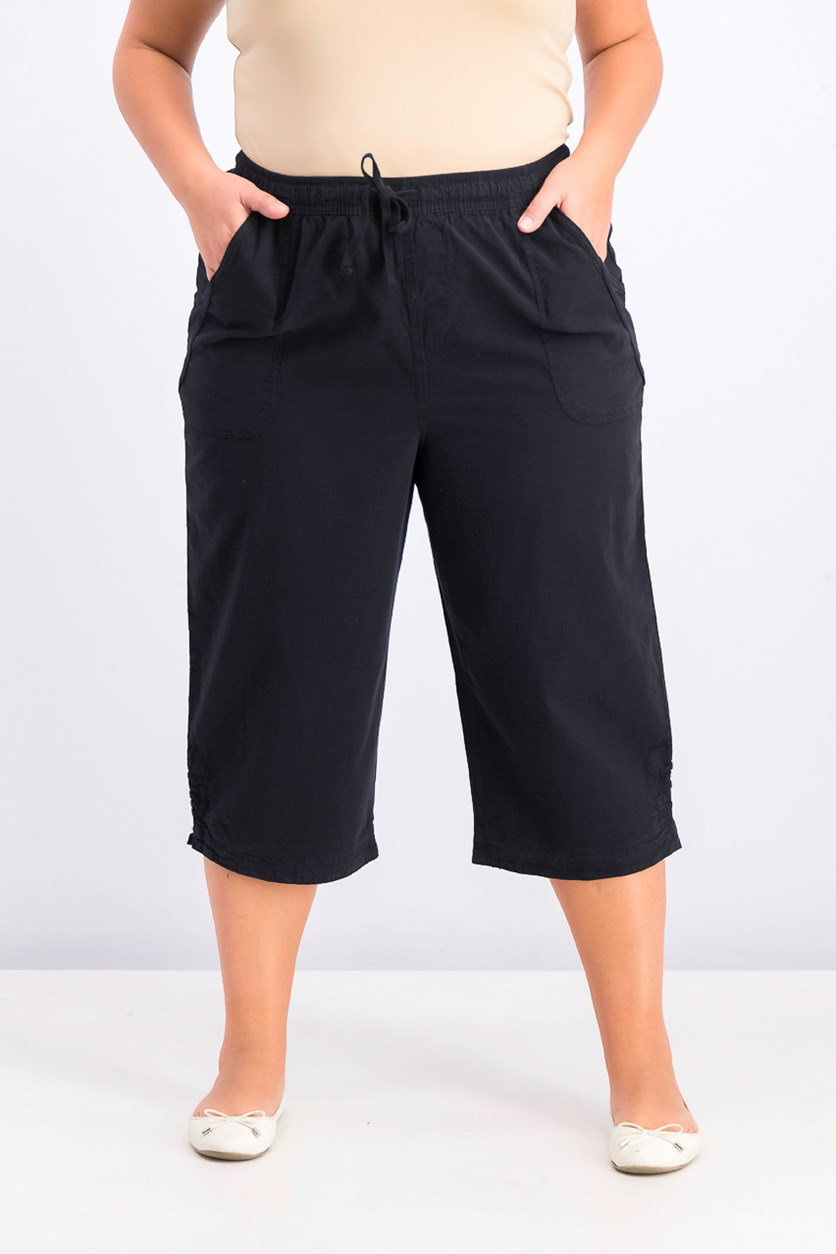Women's Plus Size Kiera Capri Pull On Pants, Deep Black