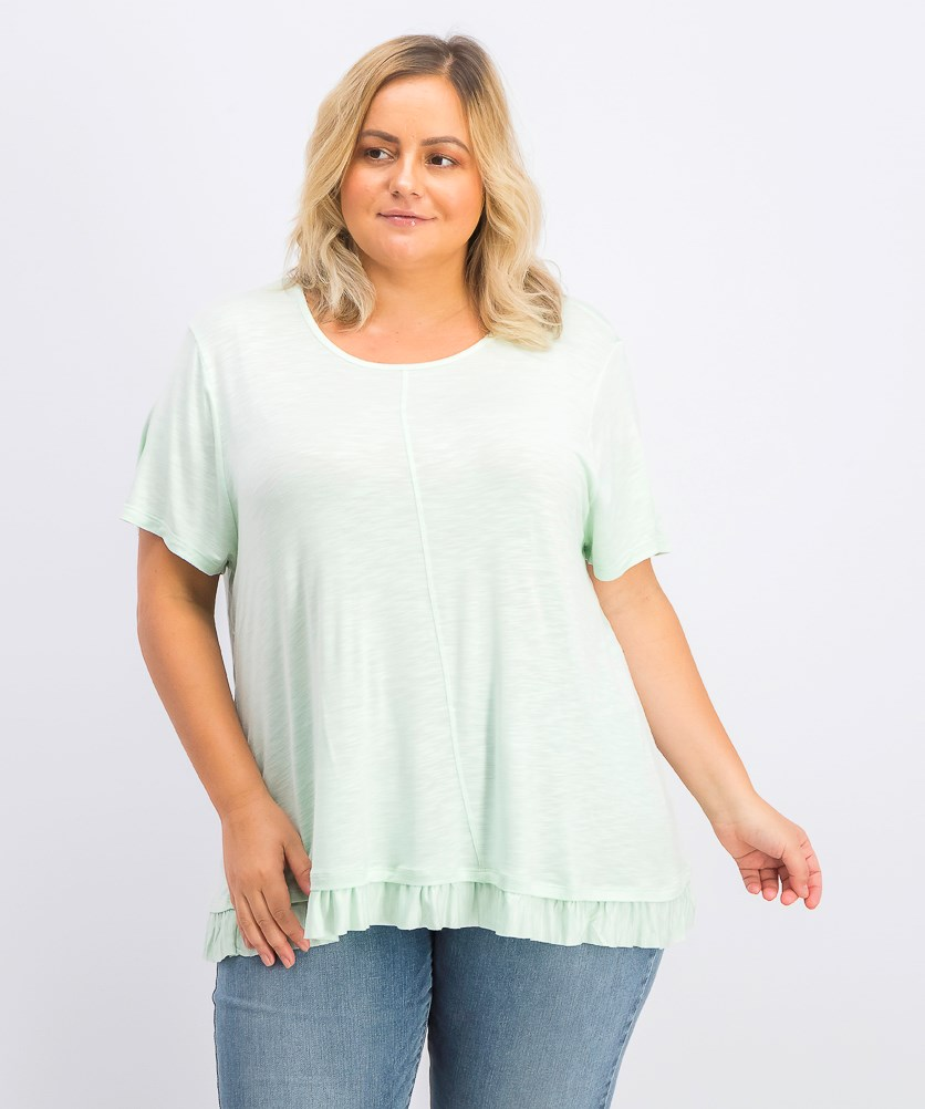 Women's Plus Size Ruffle-Hem Top, Mint Fizz