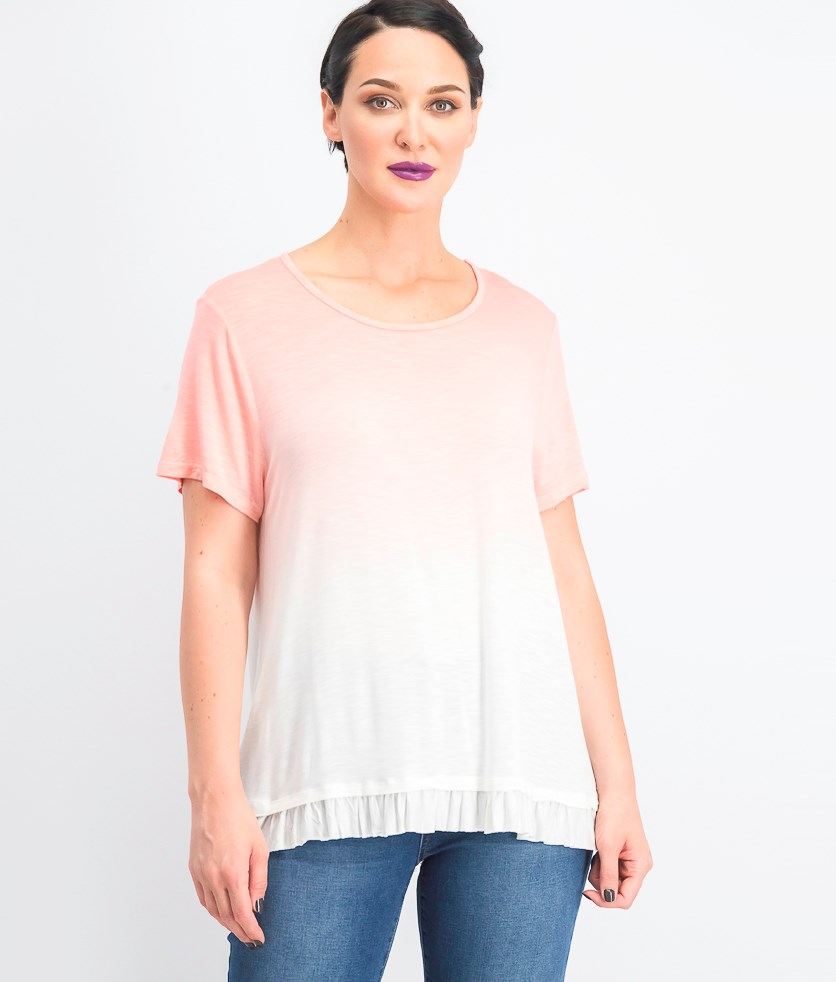 Women's Ombre Ruffled-Hem Top, Peachberry Ombre