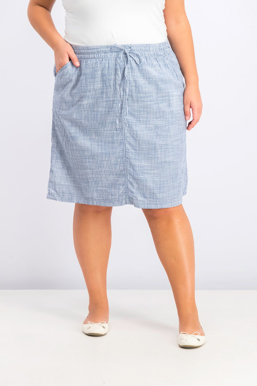 Women's Drawstring-Waist Skirt, Chambray Combo