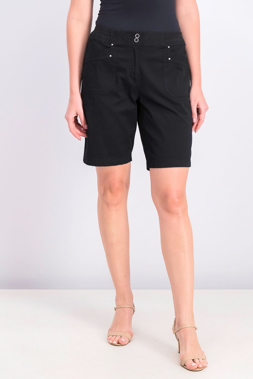 Women's Knit-Waistband Bermuda Shorts, Deep Black