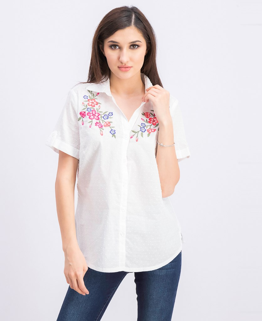 Women's Cotton Embroidered Shirt, Bright White Combo