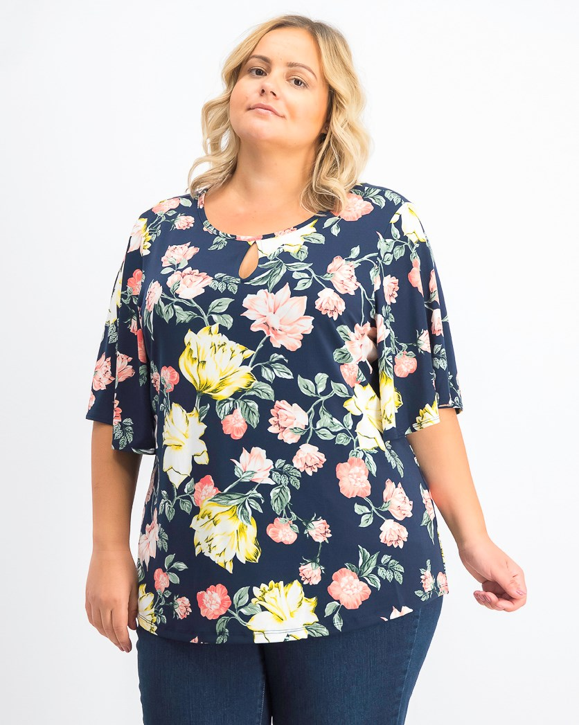 Womens Plus Size Printed Flutter-Sleeve Top,  Intrepid Blue Combo